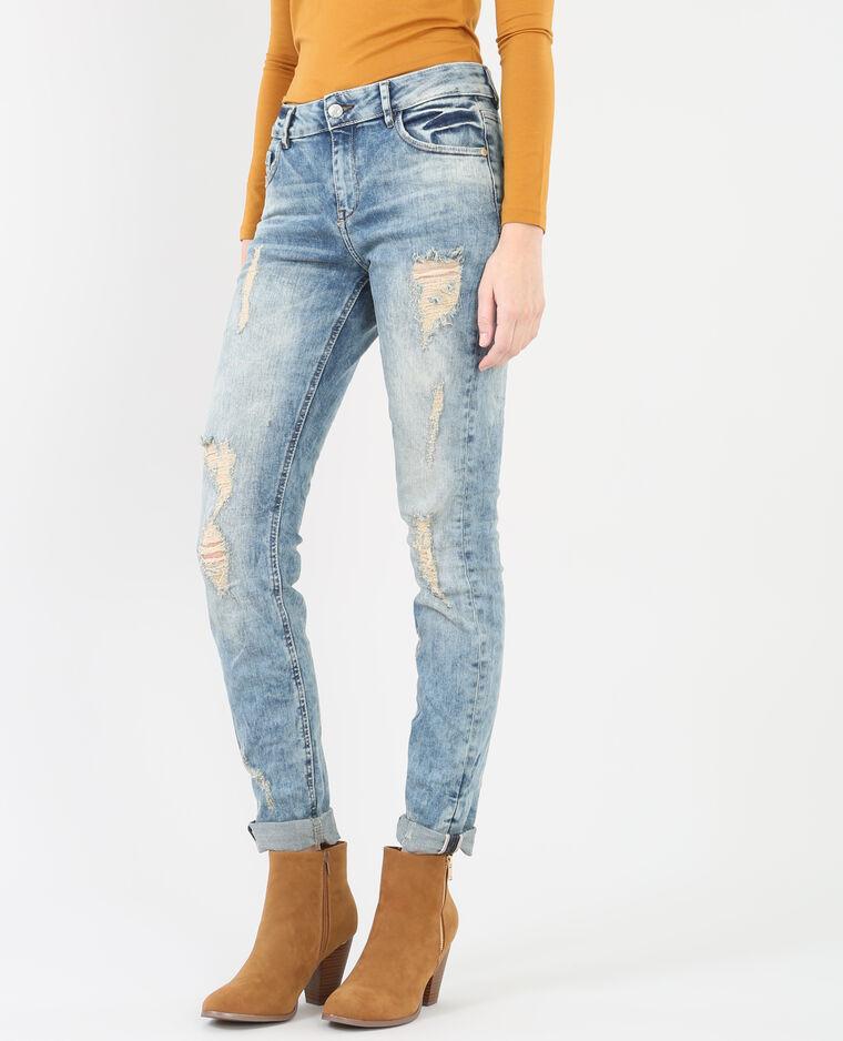 boyfit jeans mit destroyed look blau 184014687a06 pimkie. Black Bedroom Furniture Sets. Home Design Ideas