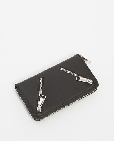 Portefeuille à zips noir