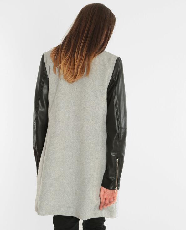 Abrigo de dos tejidos gris jaspeado