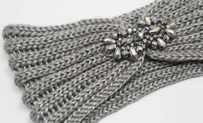 Stirnband mit Schmuck-Applikationen Grau