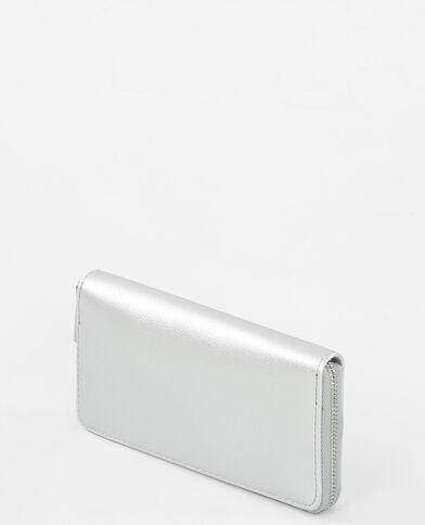 Brieftasche in Metallic-Grau Silberig