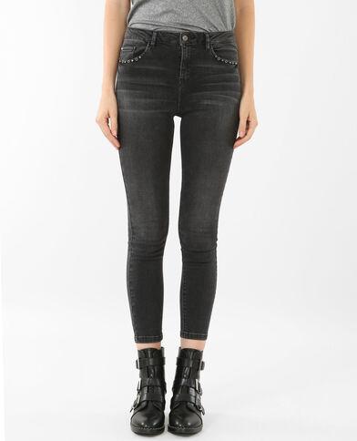 Skinny-Jeans mit Nieten Schwarz