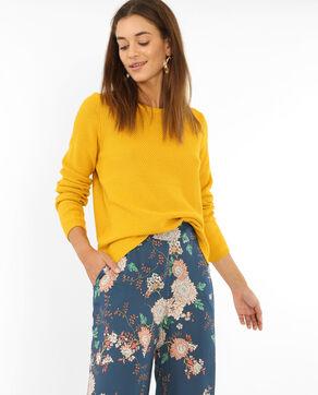 Jersey de punto fantasía amarillo mostaza
