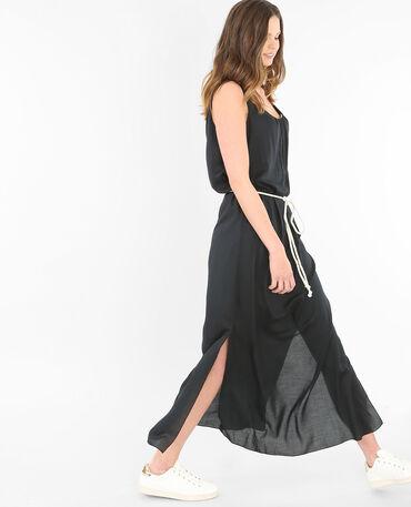 Robe longue ceinture corde noir