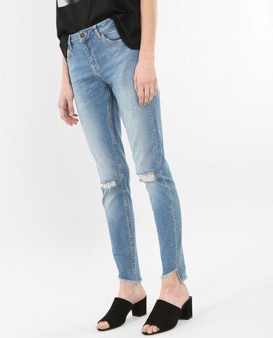 Jean skinny raw cut bleu
