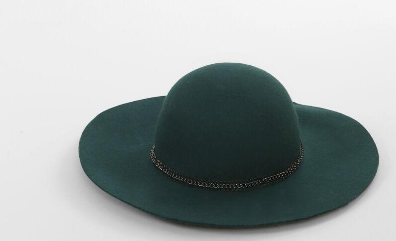 Cappello a tesa larga gioiello in metallo verde abete
