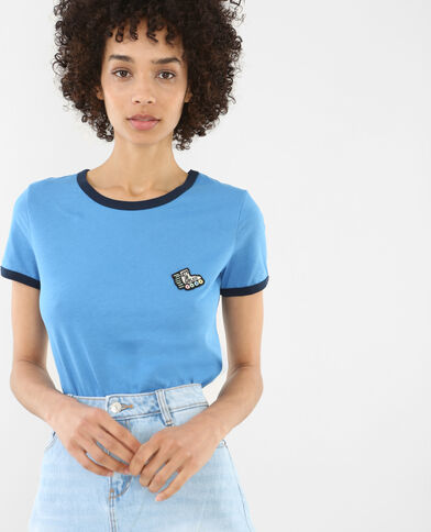 T-shirt met patchwork elektrisch blauw