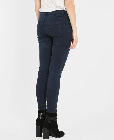 Skinny zippé bleu marine
