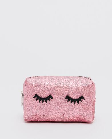 Trousse make up glitter eyes rosa