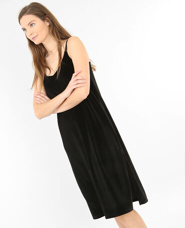 Velours-Kleid Schwarz