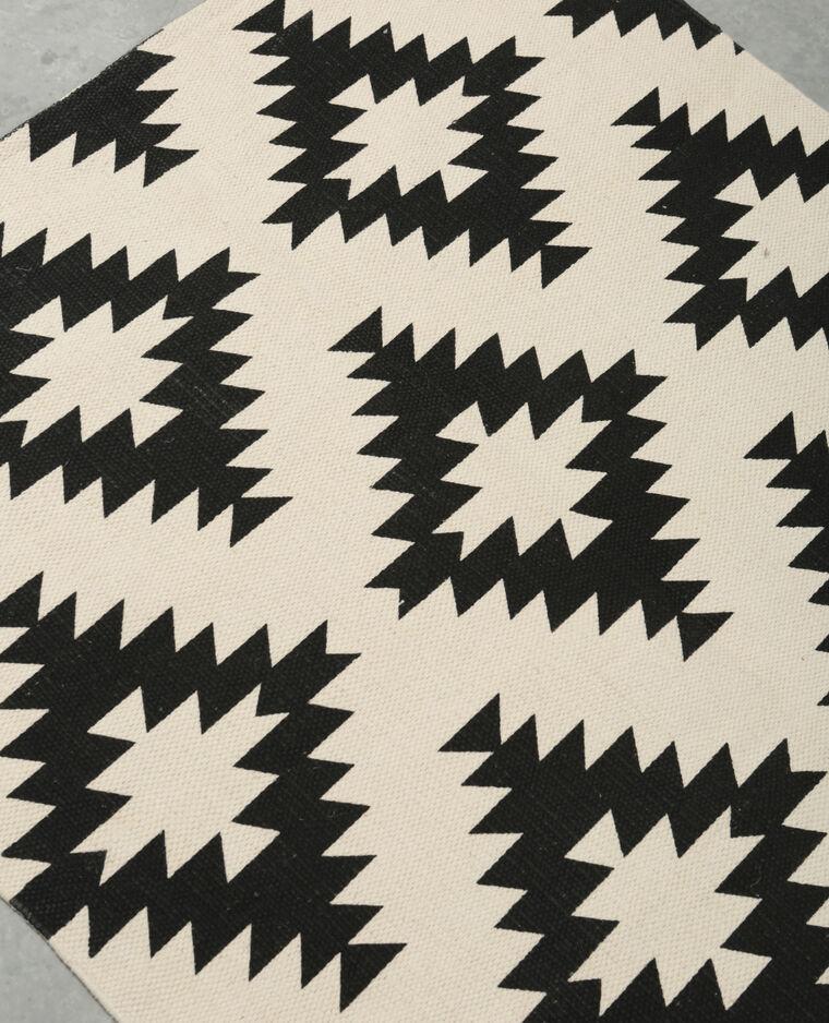 Tapis coton imprimé noir