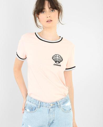 T-shirt coquillage rose clair