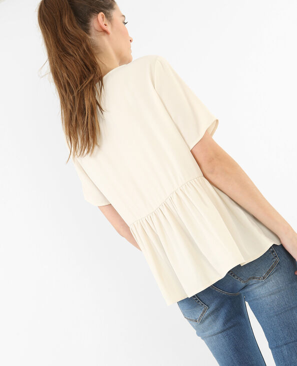 Blouse large à basque blanc cassé