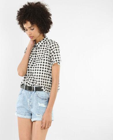 Chemise à manches courtes imprimée noir
