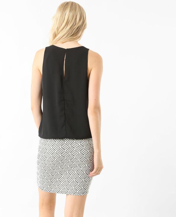 Kleid aus Materialmix Schwarz