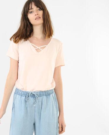 T-Shirt mit gekreuztem Halsausschnitt Rosa