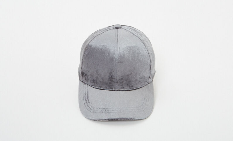 Basecap aus Samt Anthrazitgrau