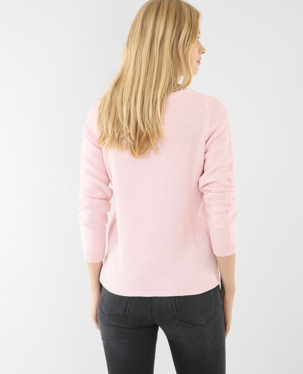 Pull multi mailles rose