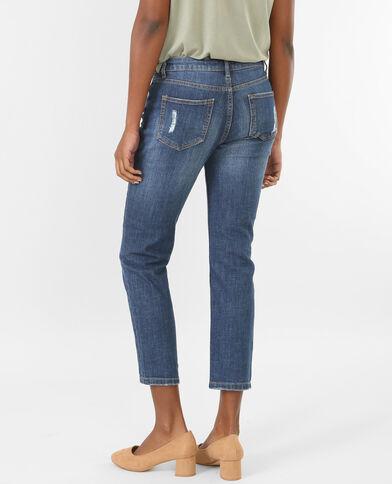 Relax fit Jeans mit hoher Taille und Destroy-Effekt Blau