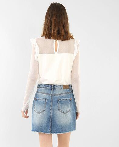T-shirt bimatière blanc cassé
