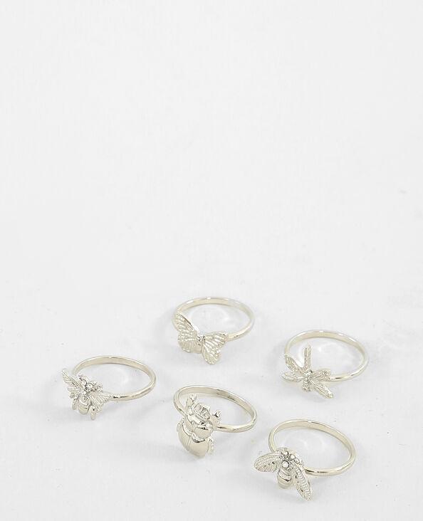Set van 5 ringen met insectenmotief zilvergrijs