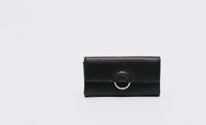 Lange portefeuille met gesp zwart