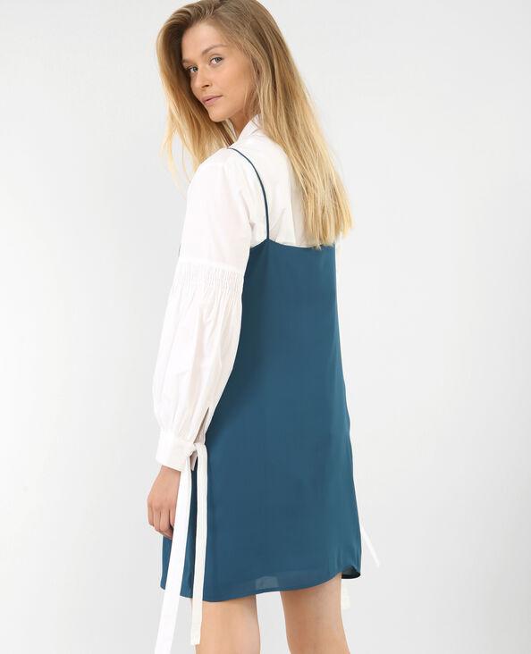 Gekruiste jurk eendenblauw