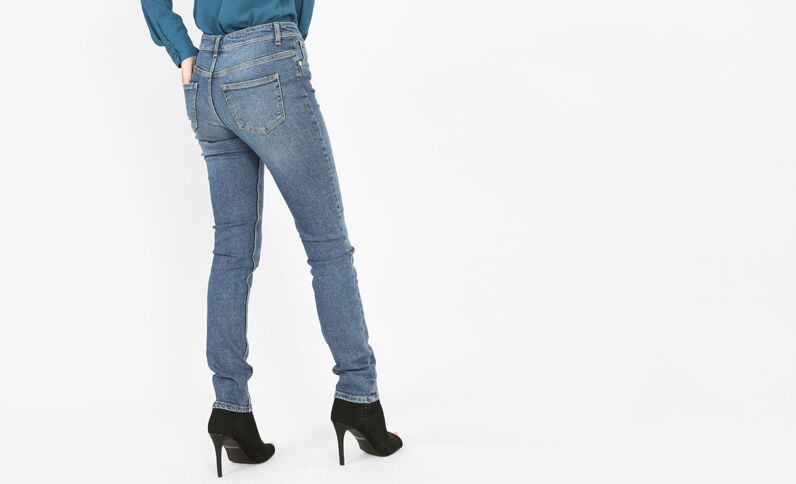 Slim a vita alta blu denim