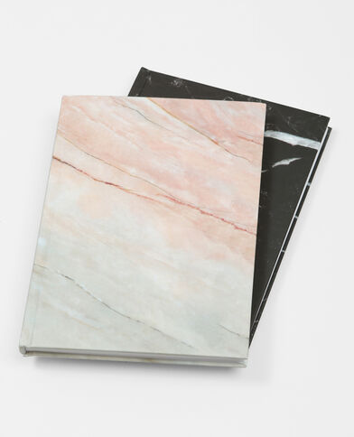 Lot de 2 notebooks marbrés noir