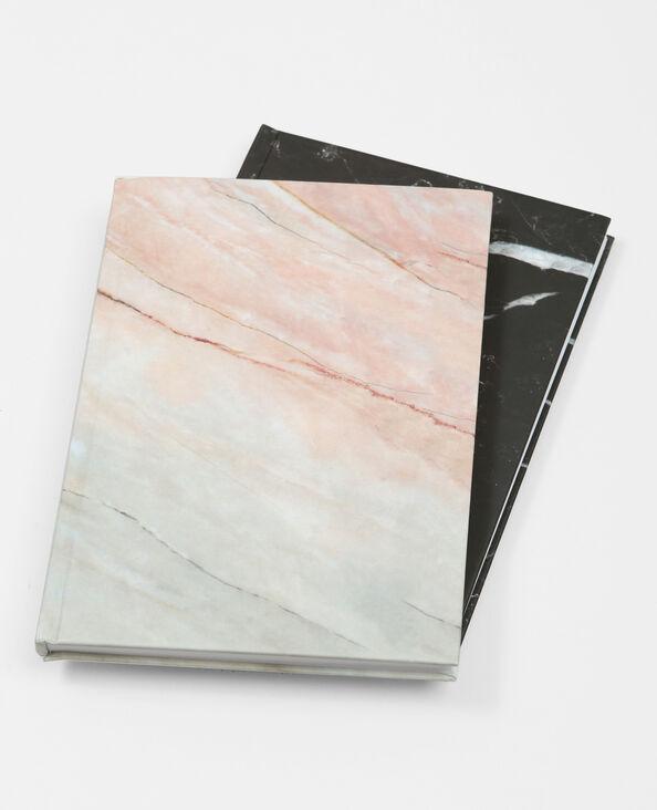 Set van 2 notebooks met marmerprint zwart
