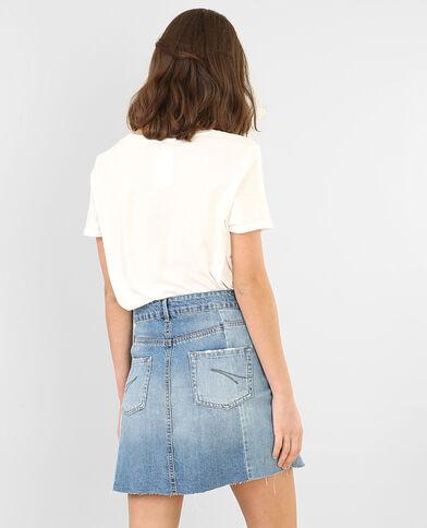 Pailletten-T-Shirt Altweiß
