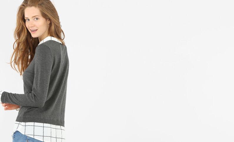 Pullover im Schichten-Look Grau