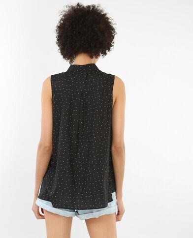 Bedrukte blouse zonder mouwen zwart