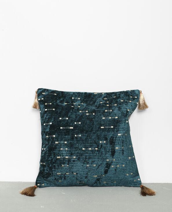 Federa per cuscino ricamata blu petrolio