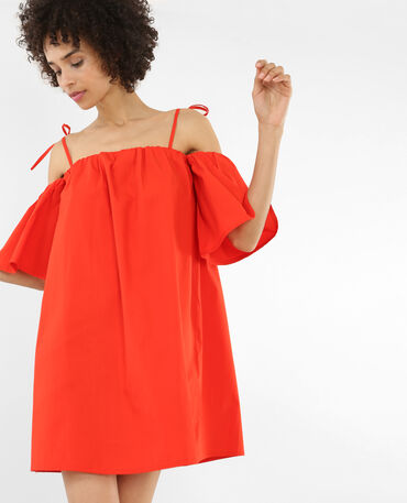 Robe ample à manches peekaboo rouge
