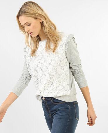 Sweatshirt mit Spitze und Rüschen Grau