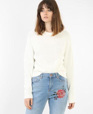 Kurzer Pullover Altweiß