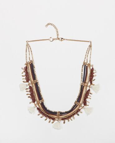 Collar múltiple perlas y cuentas dorado