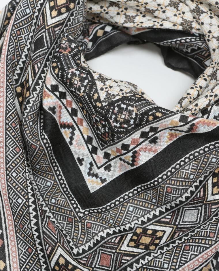 Foulard etnico pompon grigio antracite