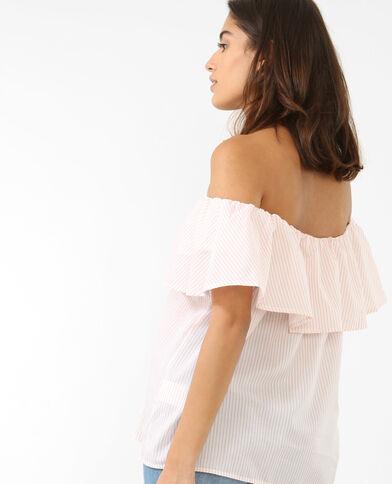 Gestreepte blouse met bardothals roze