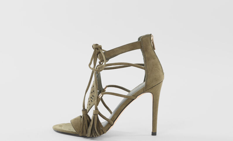 Sandalias de tacón verde