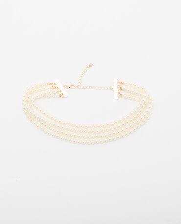 Mehrreihige Halskette mit Perlen Altweiß
