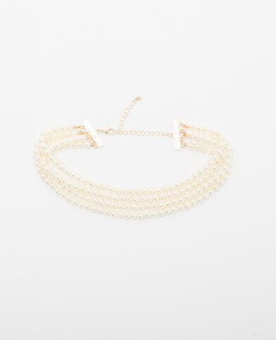 Collier à perles multi-rangs blanc cassé