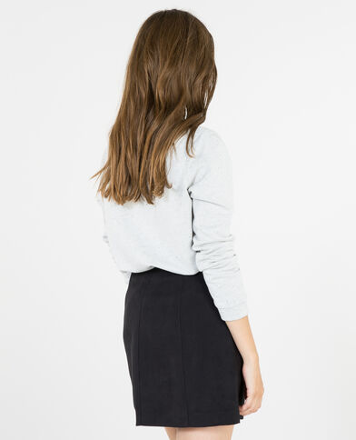 Sweatshirt aus Materialmix mit Schmuck-Applikationen Grau