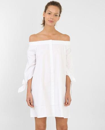Geknöpftes Kleid mit Bardot-Ausschnitt Naturweiß
