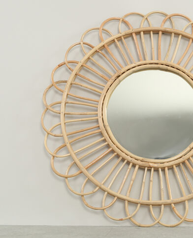 Espejo redondo de ratán beige grisáceo
