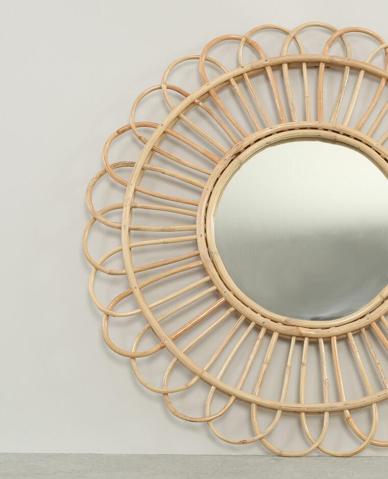 Miroir rond en rotin beige taupe 904073742a07 pimkie for Miroir rond en rotin