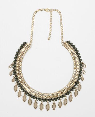 Collana rigida con pendenti in cristallo grigio