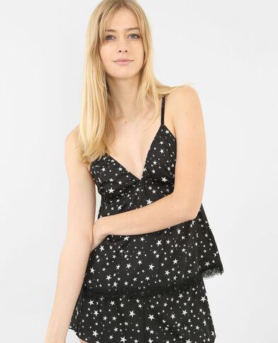 Caraco met sterrenprint zwart