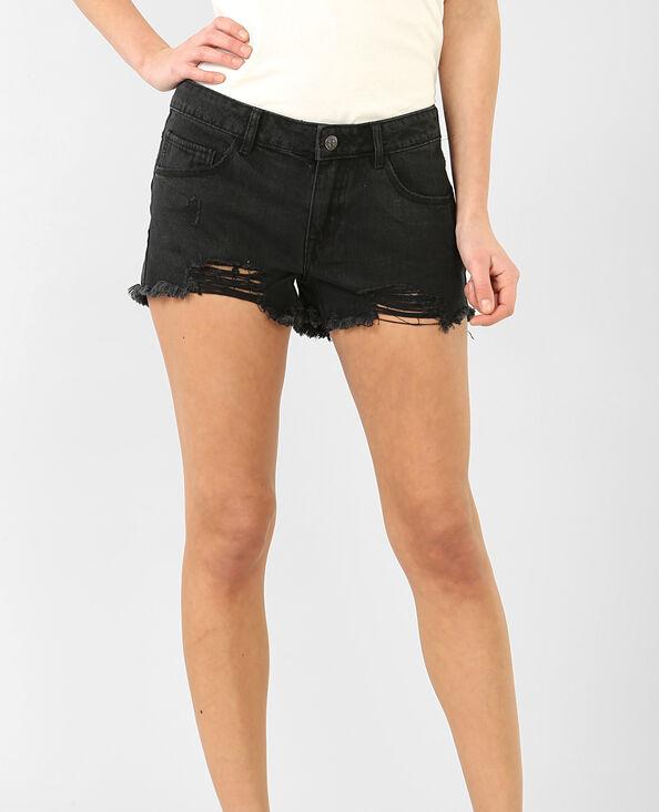 Mini-Shorts im Destroyed-Look Schwarz